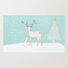 Winterforest with Deer, bunny and tree - Merry christmas! Rug