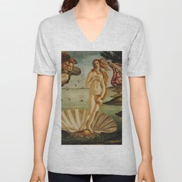 The Birth of Venus by Sandro Botticelli Unisex V-Neck