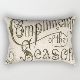 Season's Greetings Shabby Chic French Country Modern Vintage Christmas Typography Rectangular Pillow