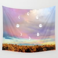 moon phases Wall Tapestries featuring Moon Phases by LoveFreeMovement