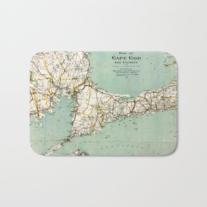 cap cod and vicinity map bath mat by mapmaker society6
