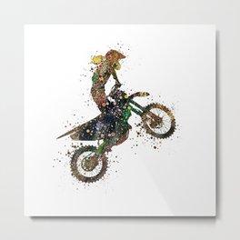 Girl Motocross Dirt Bike Colorful Watercolor Supercross Art Metal Print