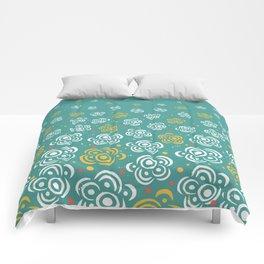 Raining Flowers - Turquoise Comforters