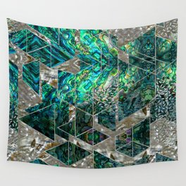 Abstract Geometric Abalone and Mother of pearl Wall Tapestry