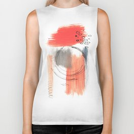 Comfort Zone - A minimalistic india ink and acrylic abstract piece in pink, black, gray, and blue Biker Tank