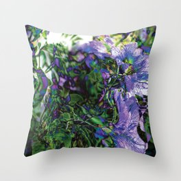 Abstracted Purple Petunias Throw Pillow