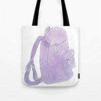 backpack Tote Bags featuring Backpack purple by Atelier Pora