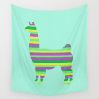 llama Wall Tapestries featuring Llama Stripes by Crayle Vanest
