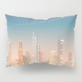 City skyline at night Pillow Sham