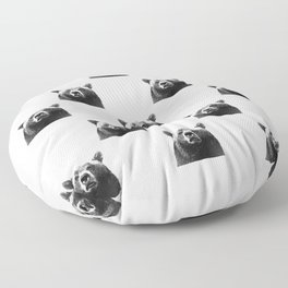 Black and white bear portrait Floor Pillow