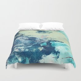 Letting Go: an abstract mixed-media piece in blues and greens by Alyssa Hamilton Art Duvet Cover