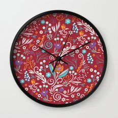 Flower circle pattern, red Wall Clock