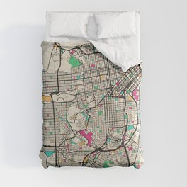 Colorful City Maps: San Francisco, California Comforters