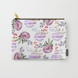 Modern white stripes pink lavender watercolor floral Carry-All Pouch