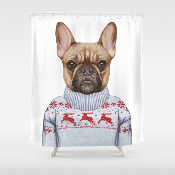 Animals As A Human French Bulldog In Down Vest And Sweater Shower
