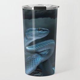 Blue Viper Snake Digital Art Travel Mug
