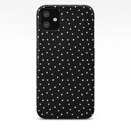 Black And White Hand Drawn Dots Art Pattern iPhone Case