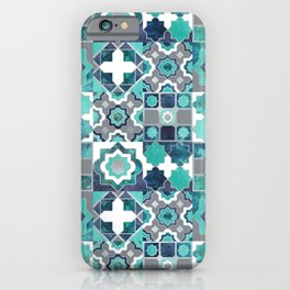 Spanish moroccan tiles inspiration // turquoise green silver lines iPhone Case