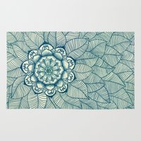 navy Area & Throw Rugs featuring Emerald Green, Navy & Cream Floral & Leaf doodle by micklyn