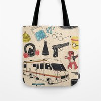 breaking Tote Bags featuring Artifacts: Breaking Bad by Josh Ln