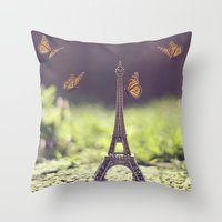 eiffel tower Throw Pillows featuring Eiffel Tower by Gabriela Da Costa