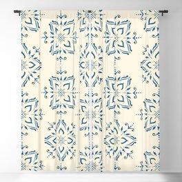 Portuguese tile style ornamental pattern - blue on cream Blackout Curtain