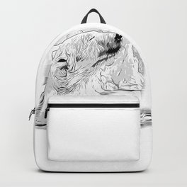 icebear polarbear enjoying vector art black white Backpack