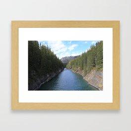 Hiking in Lake Minnewanka Framed Art Print