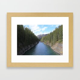 Hiking in Lake Minnewanka Framed Art Print