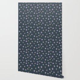 Dainty Wildflowers - Steel Blue & Lilac Wallpaper