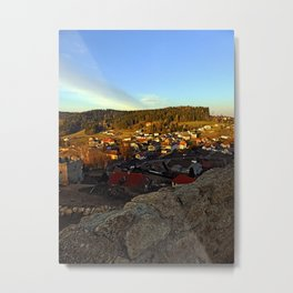 Village skyline below the castle at sundown | landscape photography Metal Print