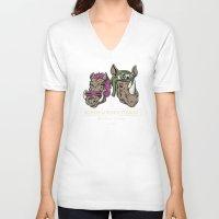 bebop V-neck T-shirts featuring Bebop & Rocksteady Henchmen Academy  by Fanboy30