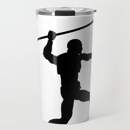 Silhouette of a running man with a spear Travel Mug