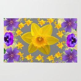 SPRING PURPLE  FLOWERS DAFFODIL ART DESIGN Rug