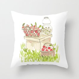 Apple Baskets Throw Pillow