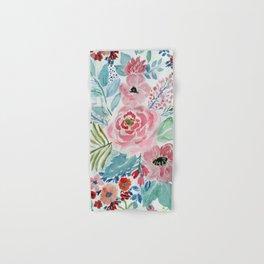 Pretty watercolor hand paint floral artwork. Hand & Bath Towel