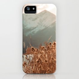 Golden Wheat Mountain // Yellow Heads of Grain Blurry Scenic Peak iPhone Case