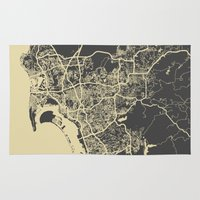 san diego Area & Throw Rugs featuring San Diego Map by Map Map Maps