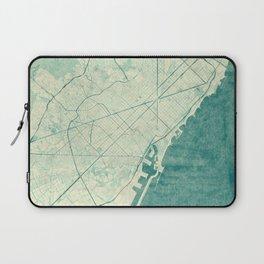 Barcelona Map Blue Vintage Laptop Sleeve