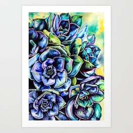 Watercolor Succulents art painting Art Print
