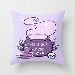Witch Cauldron // Purple Throw Pillow