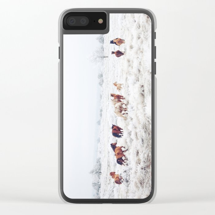 Winter Horses Clear iPhone Case