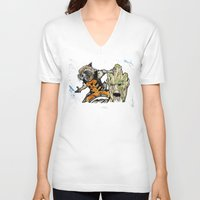 rocket raccoon V-neck T-shirts featuring Rocket Raccoon and Groot by artbyteesa