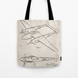 Lockheed P-31 Airplane Patent - Lightning Aircraft Art - Antique Tote Bag