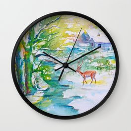 Winter landscape, snow stream and deer Wall Clock