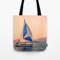 racing Tote Bags featuring  Yacht racing by Svetlana Korneliuk