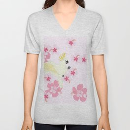 Polly's Pink Hibiscus Party Unisex V-Neck