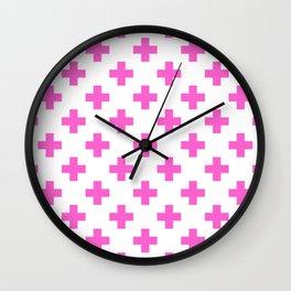 Pink Plus Sign Pattern Wall Clock