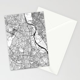 New Delhi Map Gray Stationery Cards