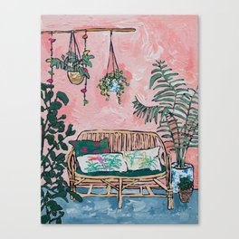 Rattan Bench in Painterly Pink Jungle Room Canvas Print